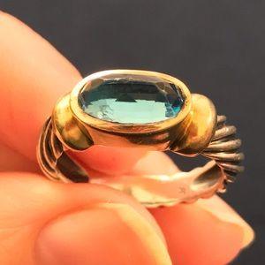 David Yurman Jewelry - David Yurman Blue Topaz 14K Gold Silver Cable Ring